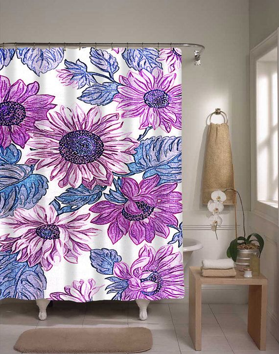 Floral Shower Curtain Purple Blue Flower By XOnceUponADesignx