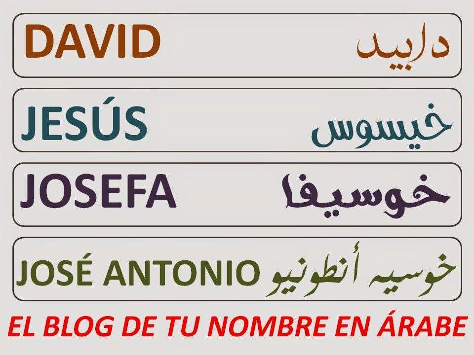 Nombres En Arabe David Jesus Josefa Jose Antonio Nombres En Arabe Arabes Nombres
