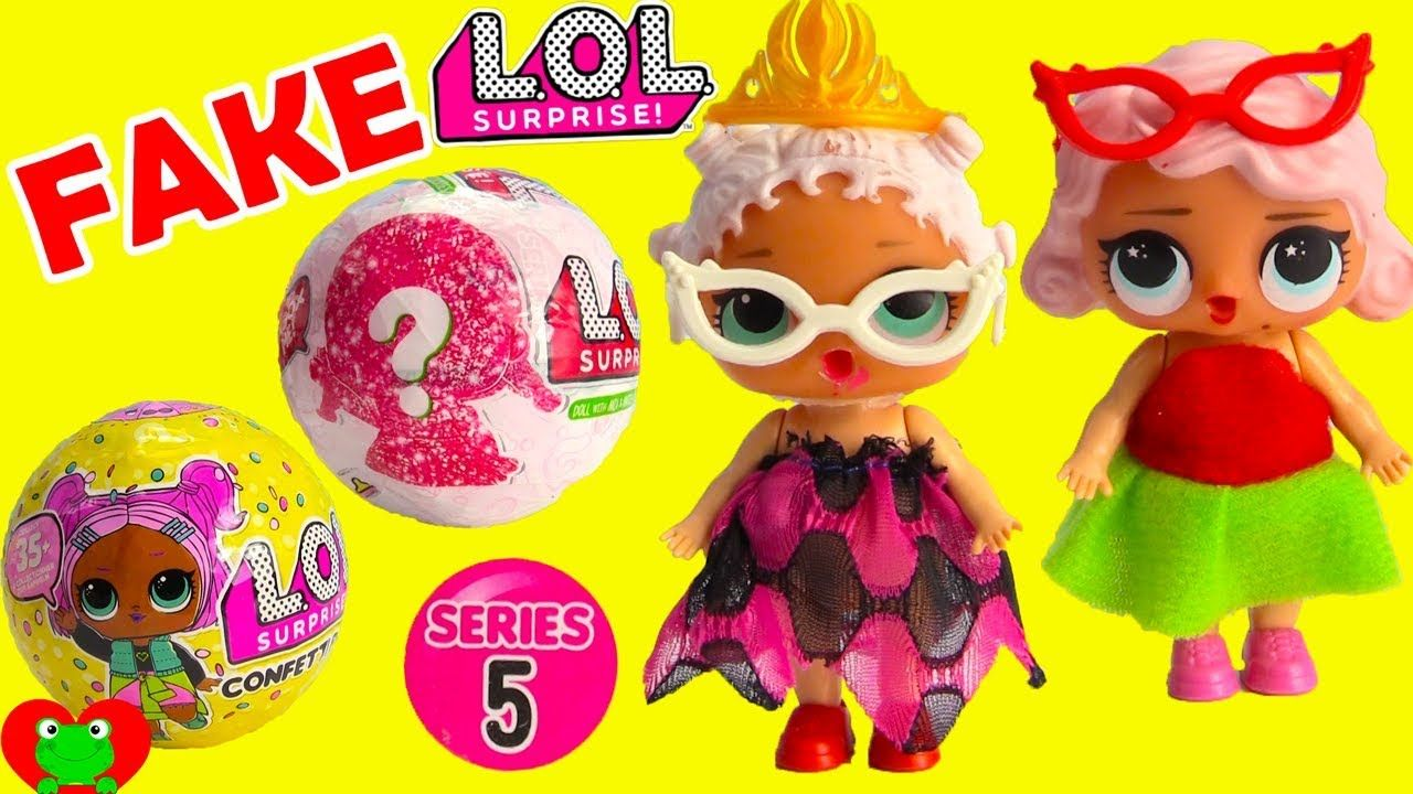 LOL Surprise Dolls Fake vs. Real Series 5 Glitter and Confetti Pop ... bf6a240d68