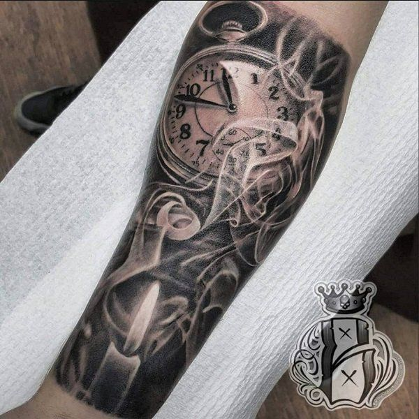 Watch And Candle Forearm Tattoo 100 Awesome Watch Tattoo Designs 3 3 Watch Ladies Mens Wrist Watch Watch Tattoo Design Watch Tattoos Clock Tattoo Design