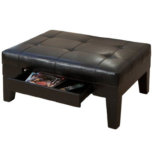 Tucson Brown Leather Storage Ottoman
