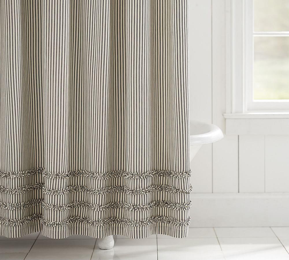 Ticking Stripe Ruffle Shower Curtain Farmhouse Shower Ruffle Shower Curtains Striped Shower Curtains
