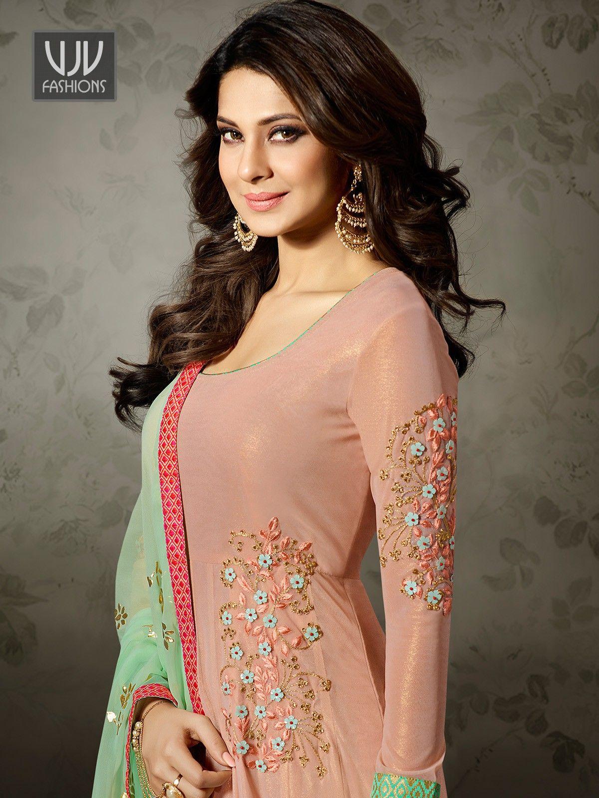 Jennifer Winget Peach Color Fancy Fabric Anarkali Suit ...