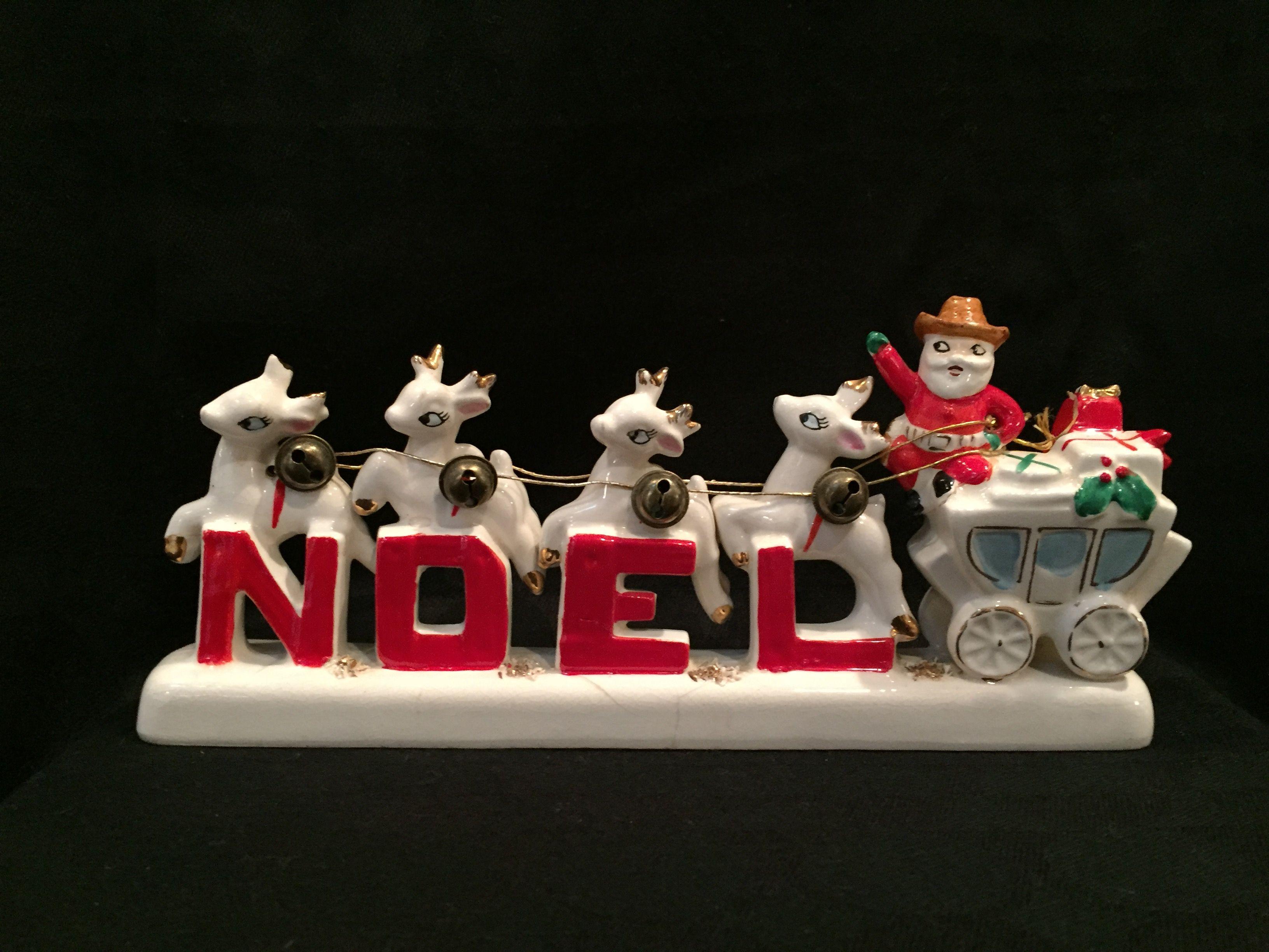 Vintage cowboy santa and reindeers noel figurine vintage christmas