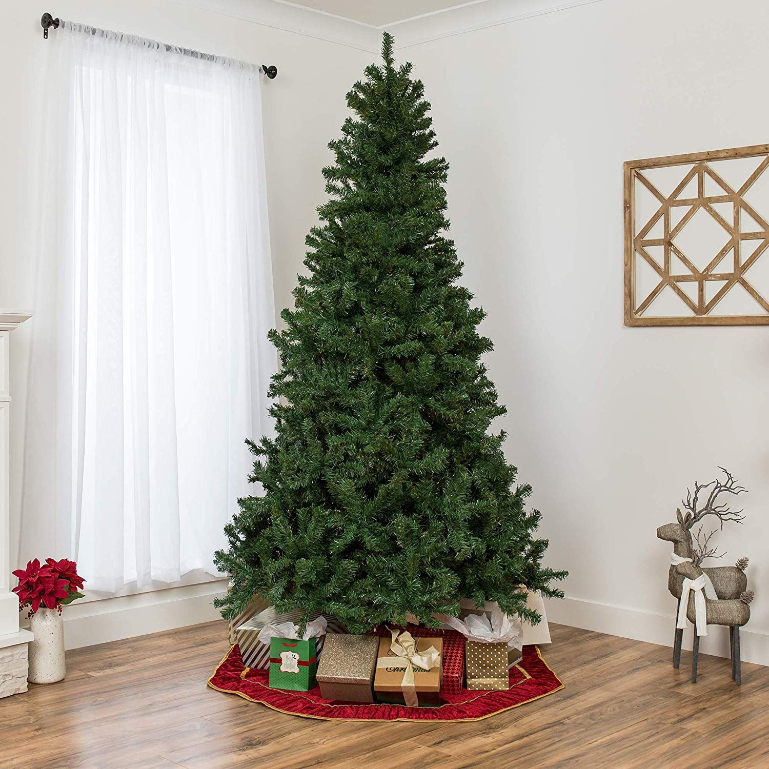 7 5ft Premium Spruce Hinged Artificial Christmas Tree W Easy Assembly Foldable Stand Fake Christmas Trees Pre Lit Christmas Tree Christmas Tree Sale
