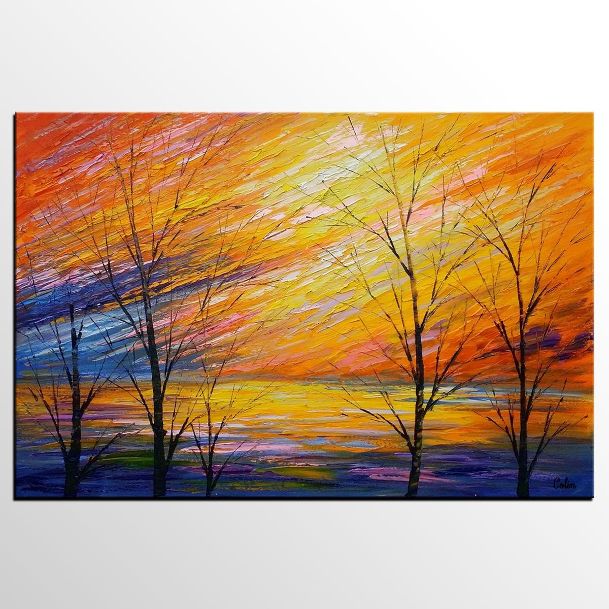 Abstract Art, Sunset Sky Painting, Heavy Texture Oil Painting ...