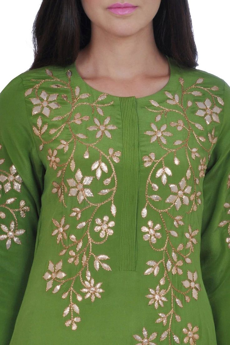 299dadf2fe Mehandi Green Hand Embroidered Gota Patti Pure Crepe Suit ...