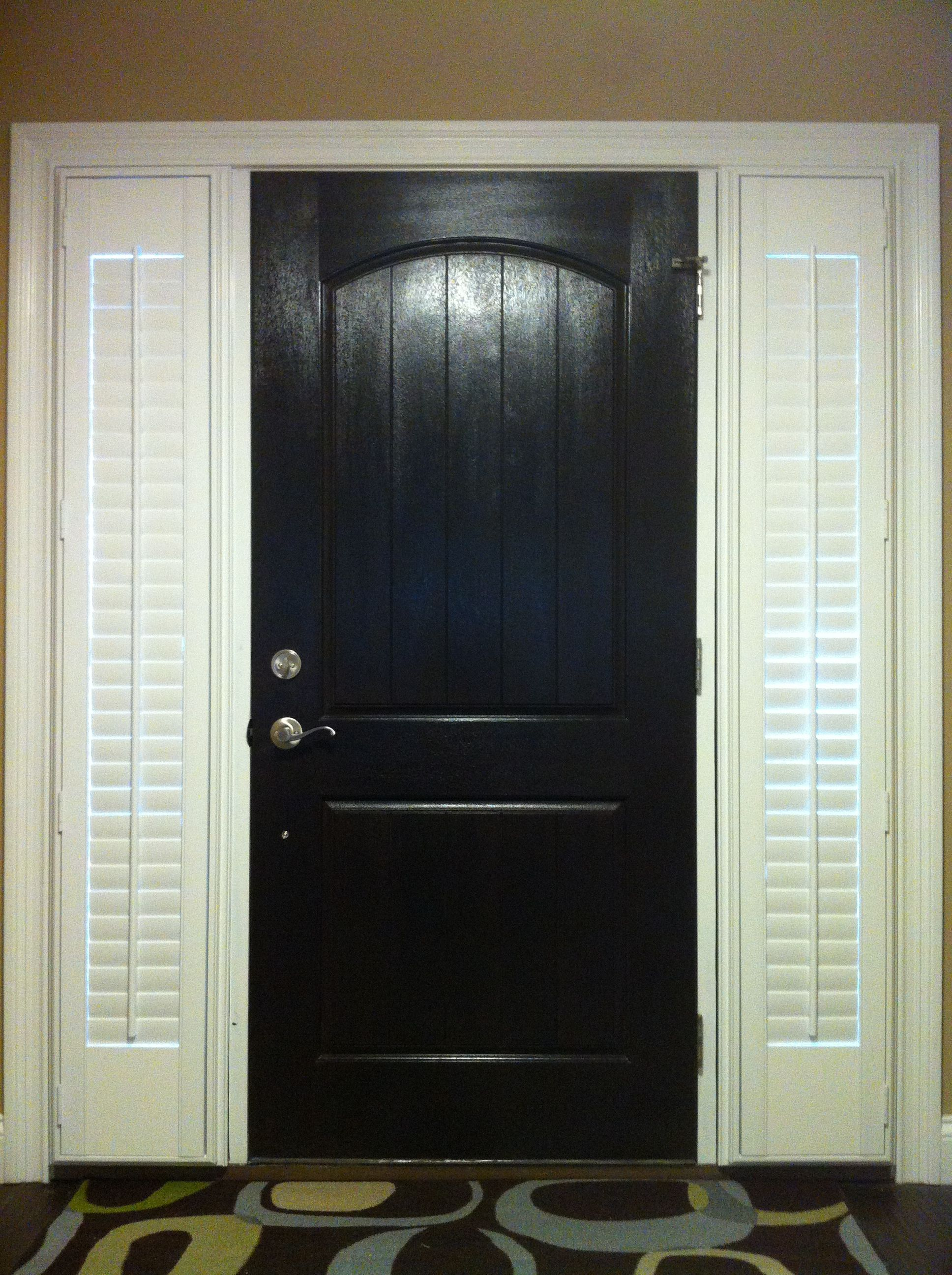 Black front door with shutters on side lights outside - Exterior doors that open to the outside ...