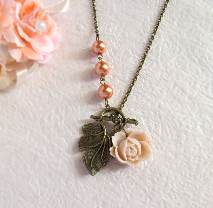 Pale Peach Rose Flower Orange Pearls Necklace. Summer Garden Jewelry, via Etsy.