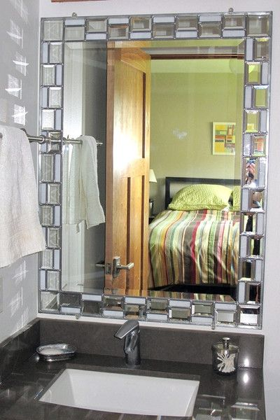 Bathroom Vanity With Stained Gl Mosaic Framed Mirror Small Ideas Trendy Updates From Bliss By Rotator Rod