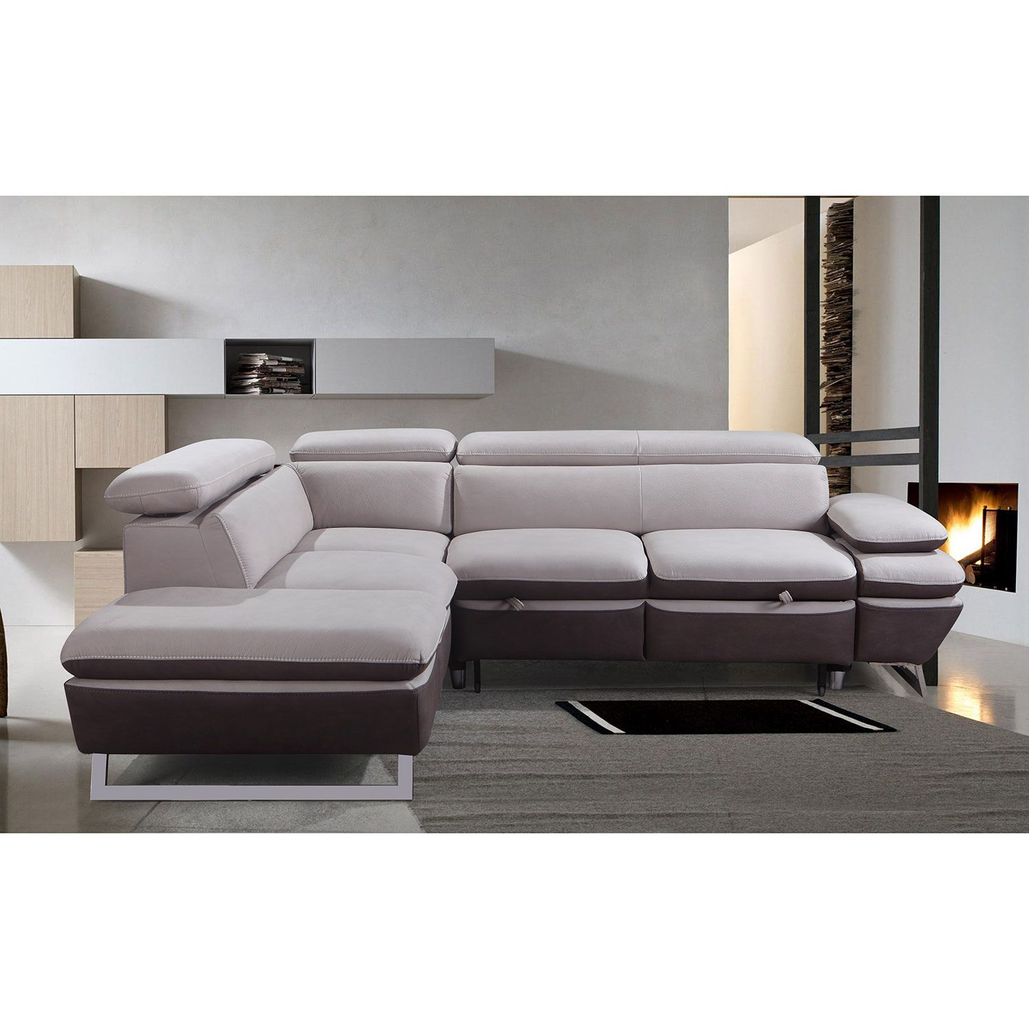 Fabric Sectional Sofas Canada Nina Contemporary 2 Piece Nappa Sectional Sofa With Right Facing