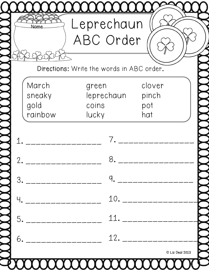 Leprechaun ABC Order.pptx Abc order, Word work, St