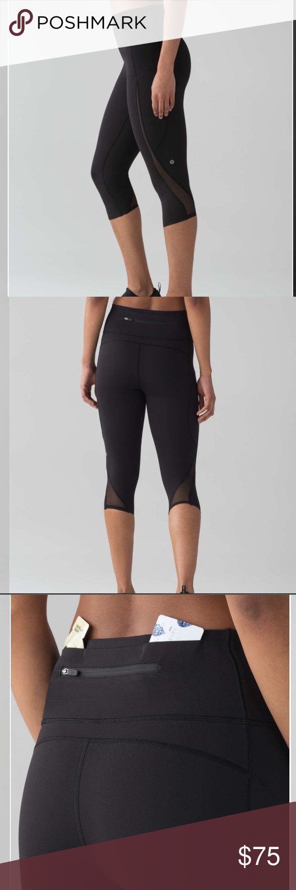 "4257874458 Lululemon • Pace Perfect Crop 17"" Black. Mesh detail along side. Waistband  and"