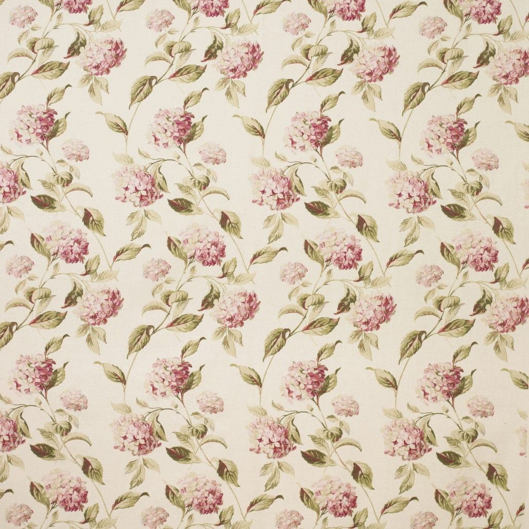 Hydrangea Pink/Natural Cotton Rich Curtain Fabric