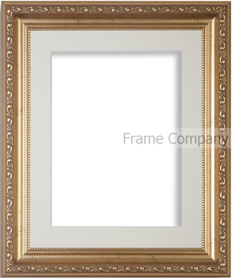 Gold 15.7x15.7 frame with grey mount cut for image size 11.8x11.8 ...
