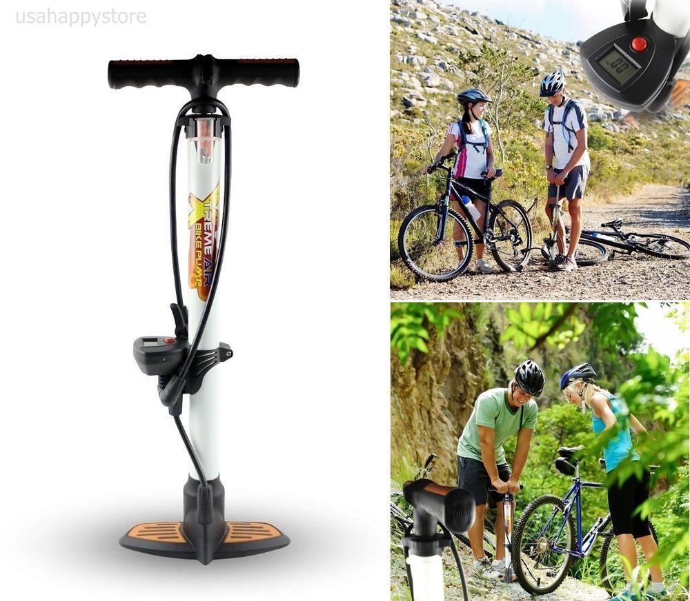 Bicycle Floor Air Pump Bike Digital Pressure Tire Gauge