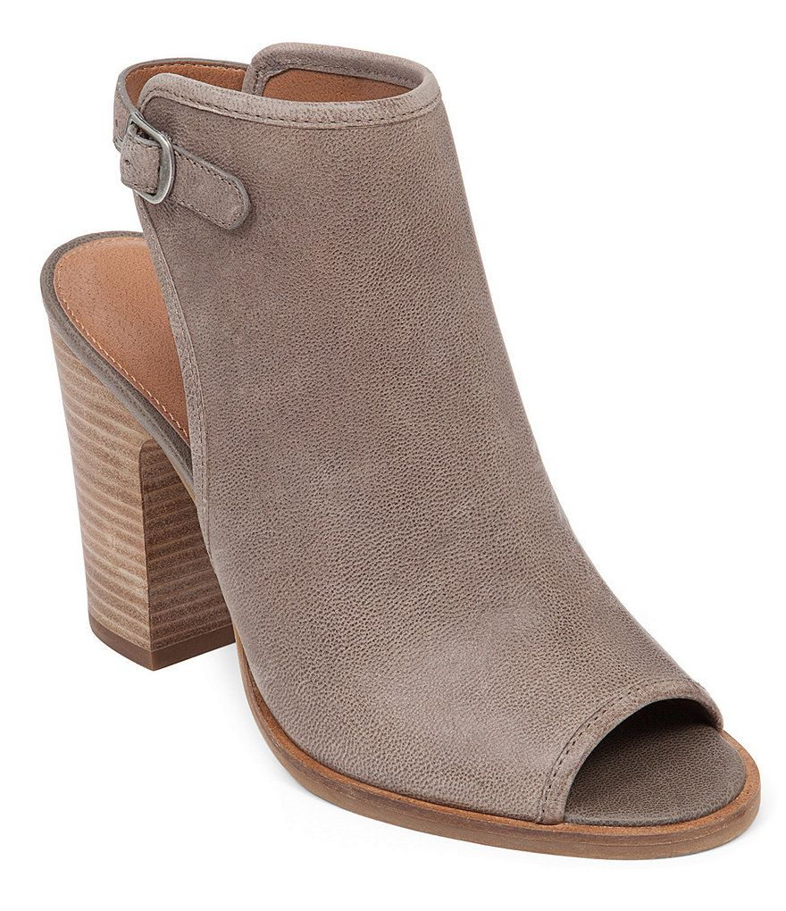 Lucky Brand Lisza Leather Peep-Toe Back Strap Block Heel Shooties | Dillards