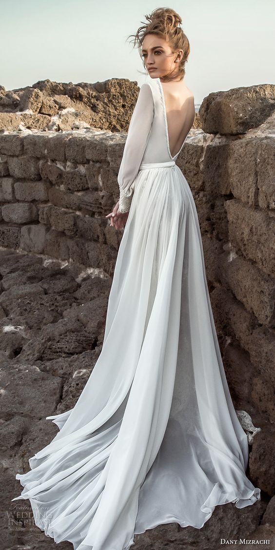 f309b1c3719 danny mizrachi 2018 bridal long bishop sleeves deep plunging v neck heavily  embellished skirt elegant sexy fit and flarew wedding dress a line  overskirt ...