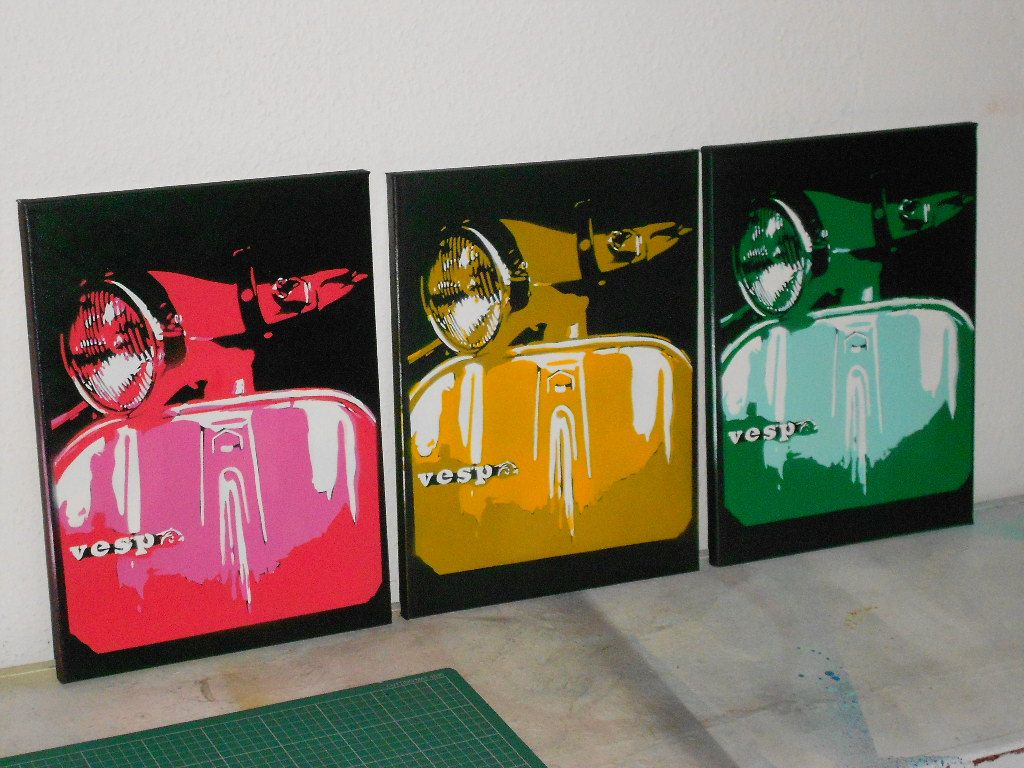 painting of vespa scooter pop art by AbstractGraffitiShop on Etsy, $60.00