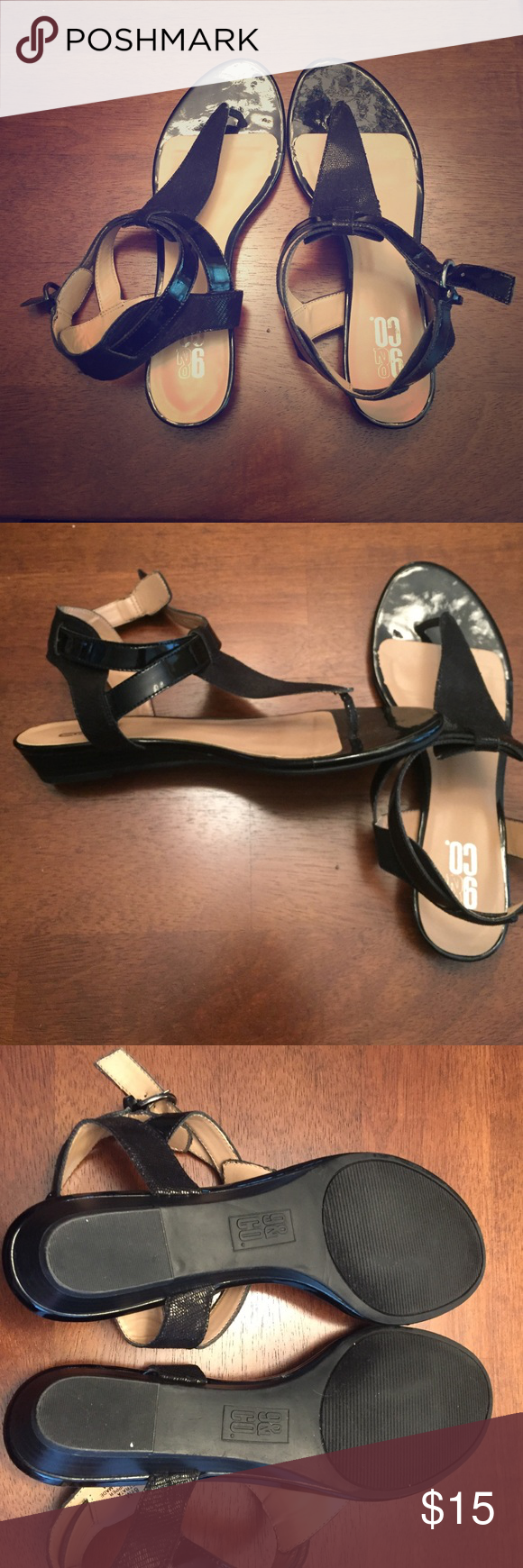 Wedge black sandals. Lower black wedge sandals. Can be dressed up or down. Only worn once, just like new condition. Very comfy if worn for a long day at work or out on the town. Apt. 9 Shoes Sandals