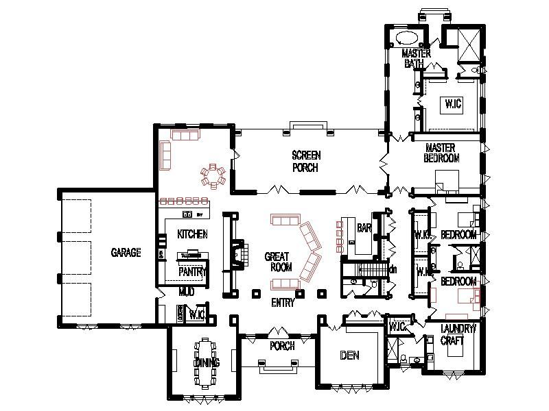 Unique Open Floor Plans Threebedroom Custom 4 Bedroom