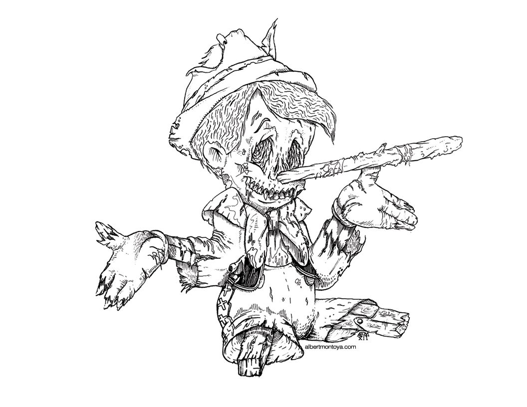 Zombie Disney Characters Drawings pinocchio zombie | Mid...