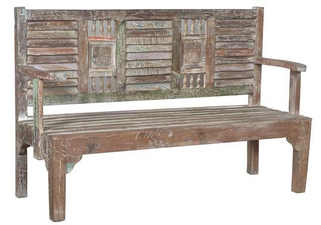 Artisan Old Wood Shutter Bench Light Finish Western Benches Rustic Bench In Multi Colored Old Wood Wooden Garden Benches Teak Bench Outdoor Teak Garden Bench
