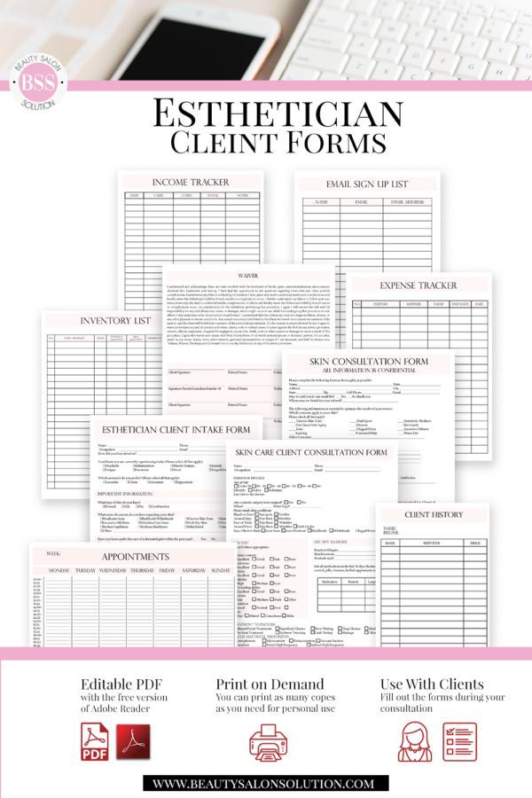 Esthetician Consultation Forms, Skin Care Consultation Form, Facials Client Intake Form