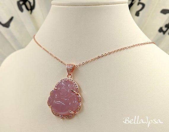 Rose Gold Genuine Jade Buddha 925 Buddha Necklace Rose Gold | Etsy