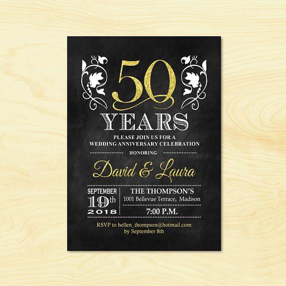 50th anniversary invitation glitter gold black white chalkboard 50th anniversary invitation glitter gold black white stopboris Image collections