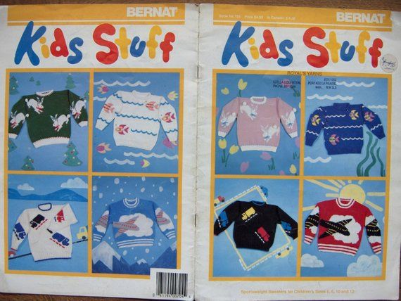 vintage bernat knitting patterns no. 704 KIDS STUFF childrens sweaters bunny fish jet truck #children'ssweaters
