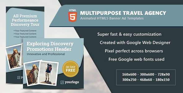 multipurpose travel agency banners html5 animated gwd animated