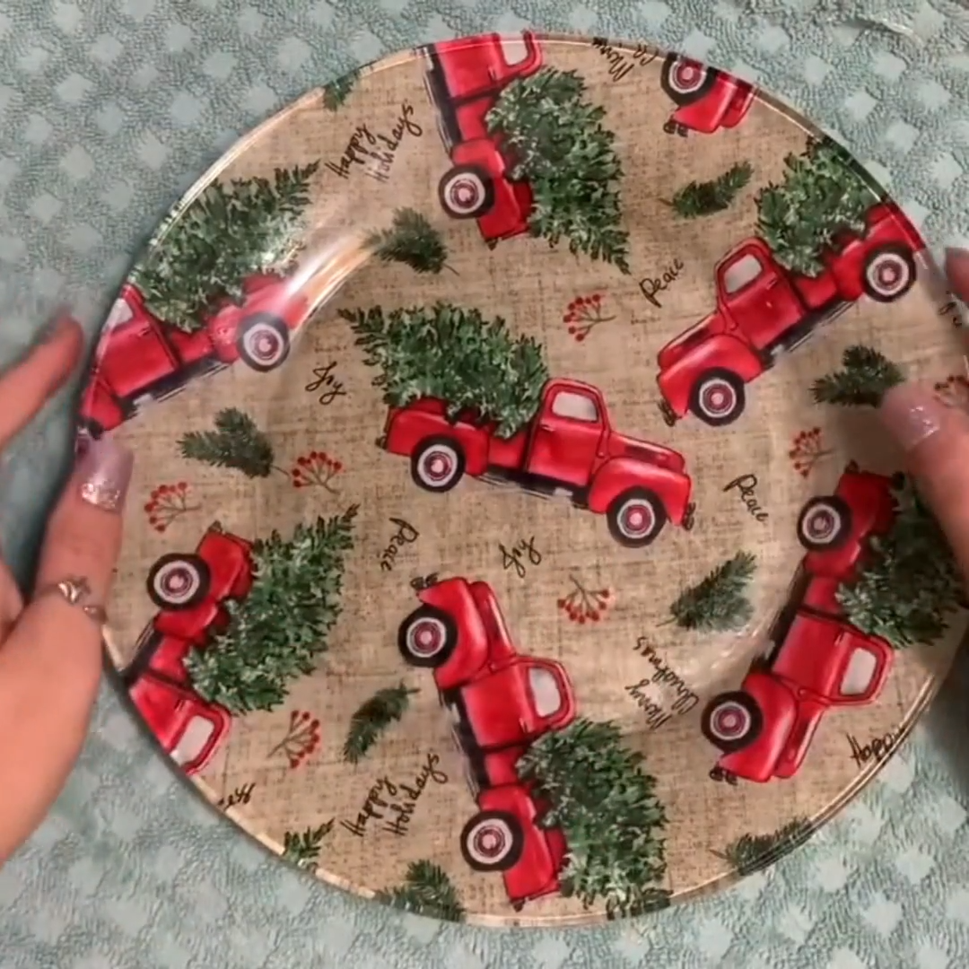 Best 10 How to Decoupage Christmas Cookie Plates- fun christmas craft to make cookie plate for the kids! Xmas red truck cookie plate tutorial. Step by step instructions how to mod podge clear plates. Dollar store craft.