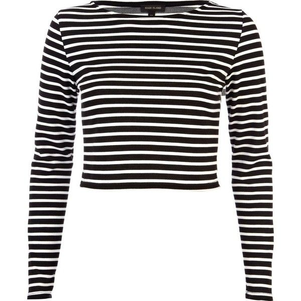 31dcae00ac5d River Island Black long sleeve stripe crop top ( 30) ❤ liked on Polyvore