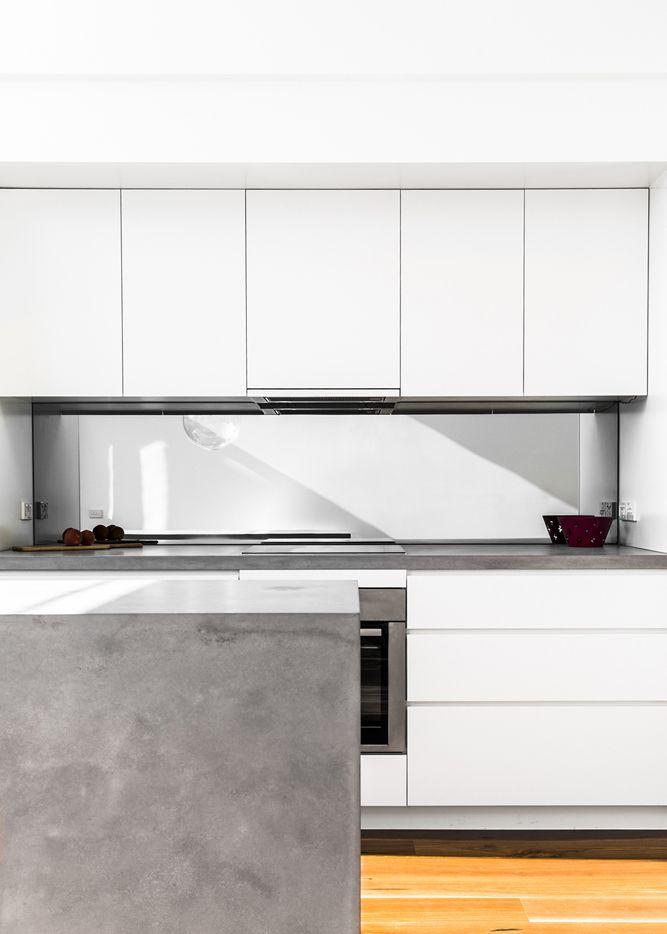 Layout Kitchen · Kitchen PantryKitchen RenoKitchen IdeasKitchen Cabinetry Mirror SplashbackTurner HouseKitchen InteriorKitchen DesignModern White  Kitchens
