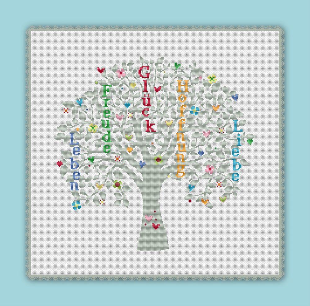 Stickvorlage Stickmuster farbig Kreuzstich Wünsche Wunschbaum Baum ...