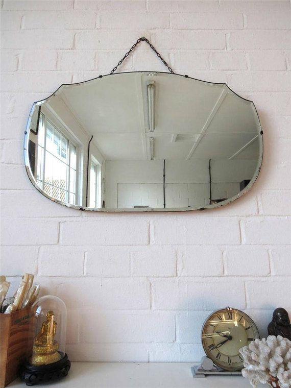 Vintage Bevelled Edge Wall Mirror Art Deco Frameless Wall Mirror