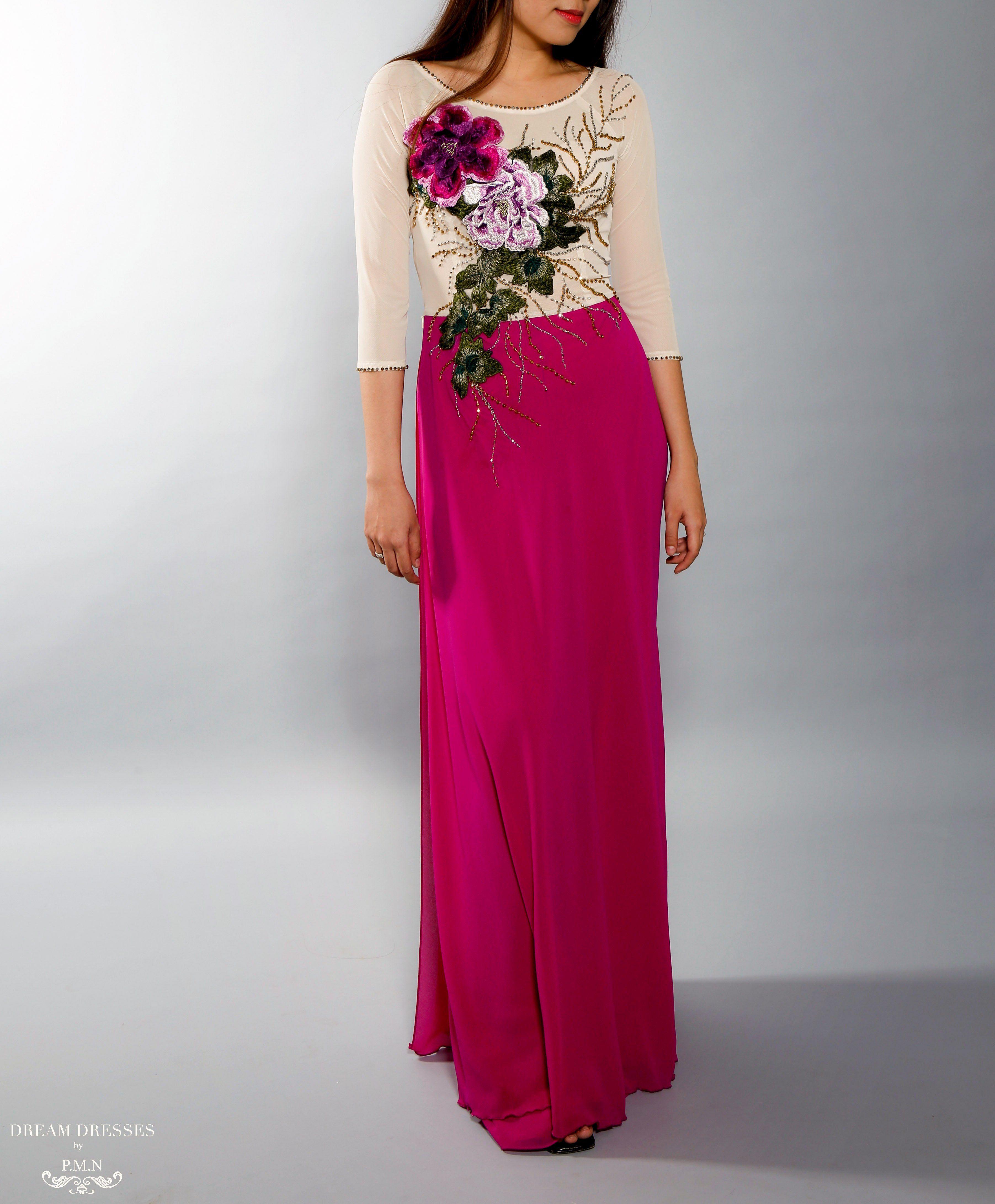 Color Block Modern Ao Dai Vietnamese Bridal Dress with