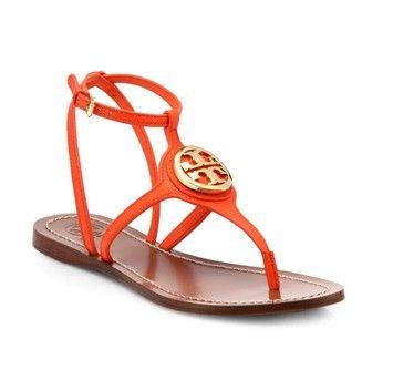 600a4b128 Tory Burch Leticia Logo Thong Poppy Red Sz 5 35 Orange Sandals  181 ...