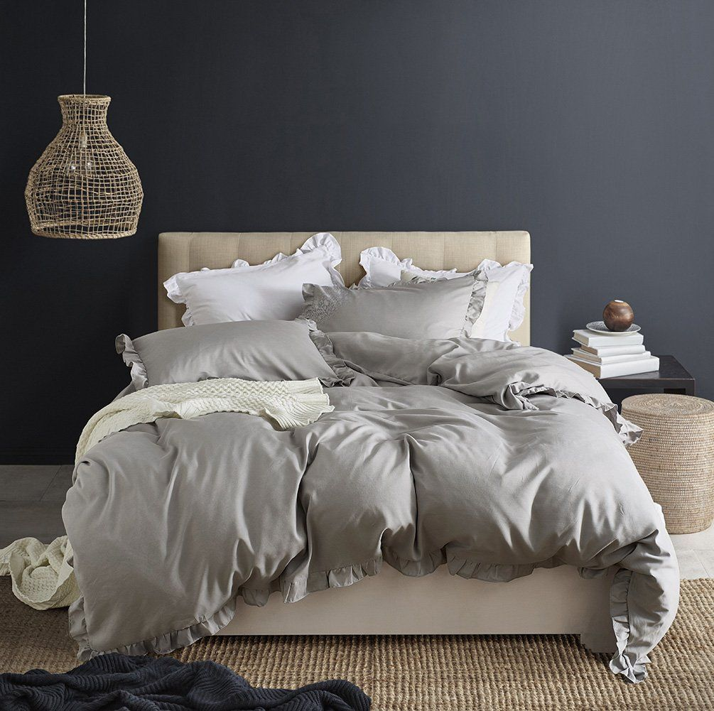 CoutureBridal Farmhouse Duvet Cover Set Queen 90x90 grey