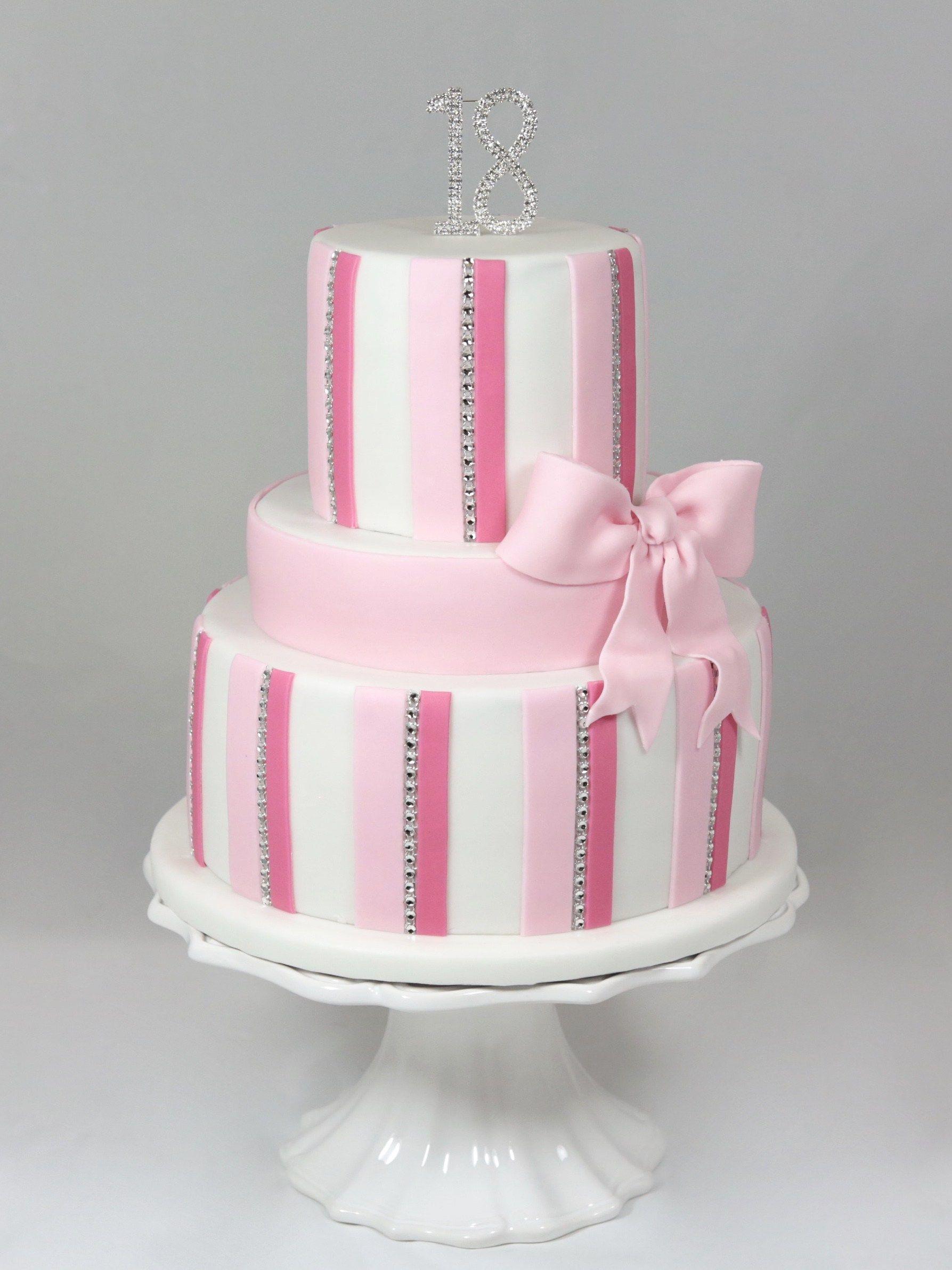 Geburtstag Birthday Cake Torte Girl Pink Bling Bling Stripes ...