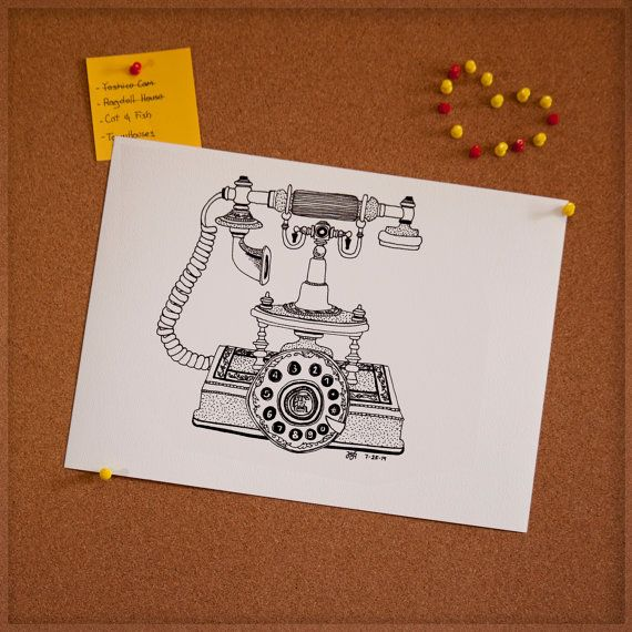 Vintage Telephone Drawing 11 X 15 By GaudyDoodle On Etsy
