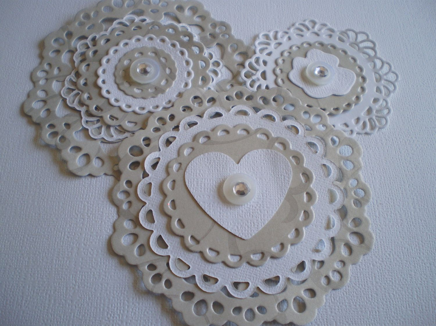 Card Making Embellishment Ideas Part - 15: Handmade Scrapbooking Embellishments - Silver And White - Set Of 3 - Use  For Card Making As Well