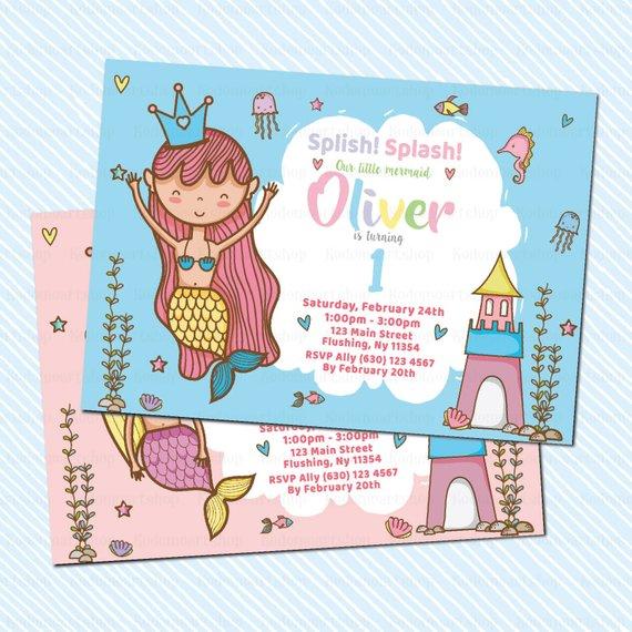 Digital Printable Mermaid Birthday Invitation First Girl