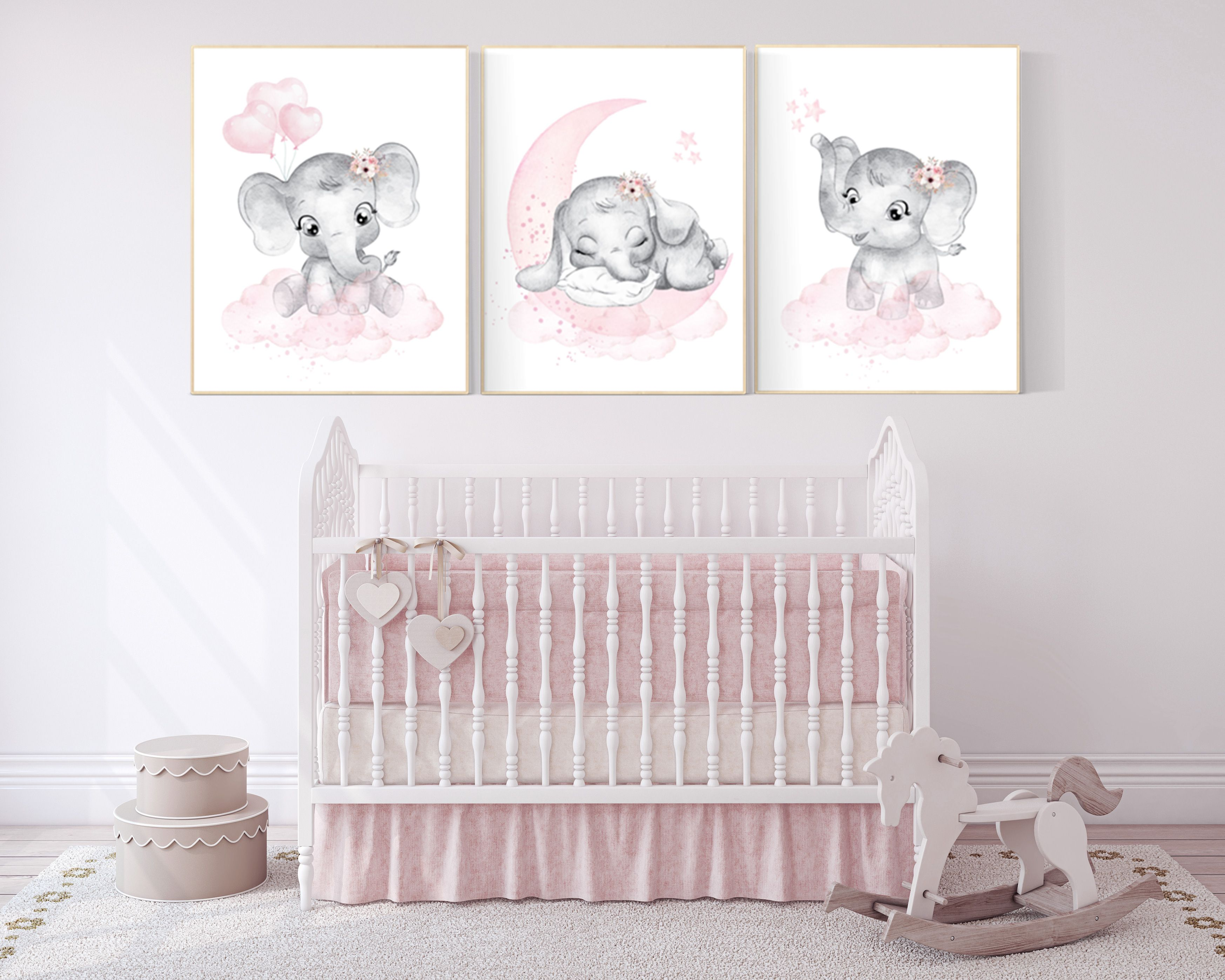 Elephant nursery art elephant nursery print pink and grey  Etsy