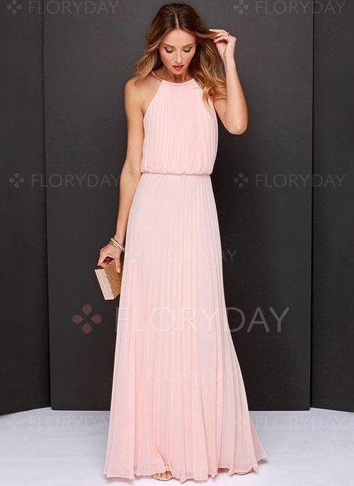 Wunderschönes nude farbenes Neckholder-Abendkleid - kleiderkreisel ...