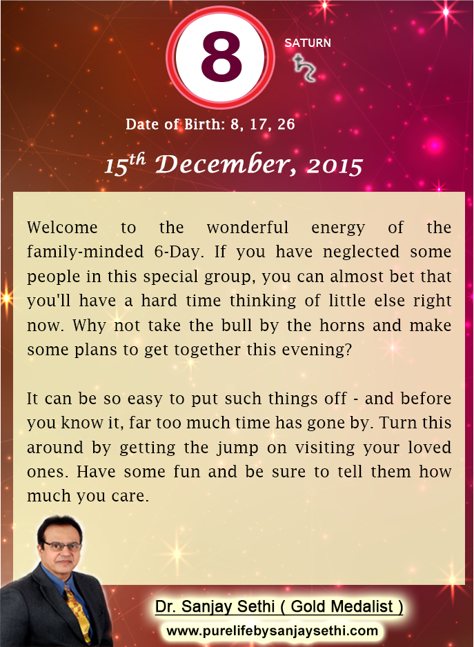 #Numerology predictions for 15th December'15 by Dr.Sanjay Sethi-Gold Medalist and World's No.1 #AstroNumerologist.