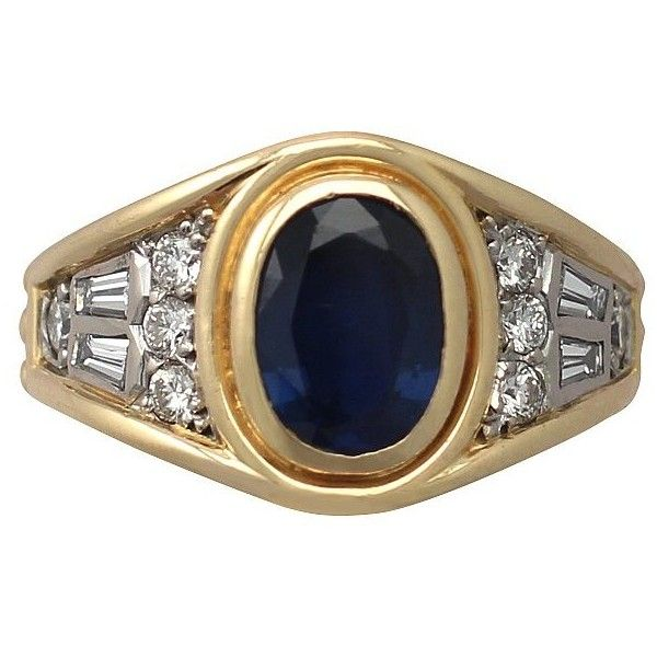 Yellow Gold Diamond and Sapphire Ring, Vintage 1950 (£1,895) ❤ liked on Polyvore featuring jewelry, rings, vintage sapphire ring, vintage gold rings, diamond rings, vintage diamond jewelry and gold sapphire ring