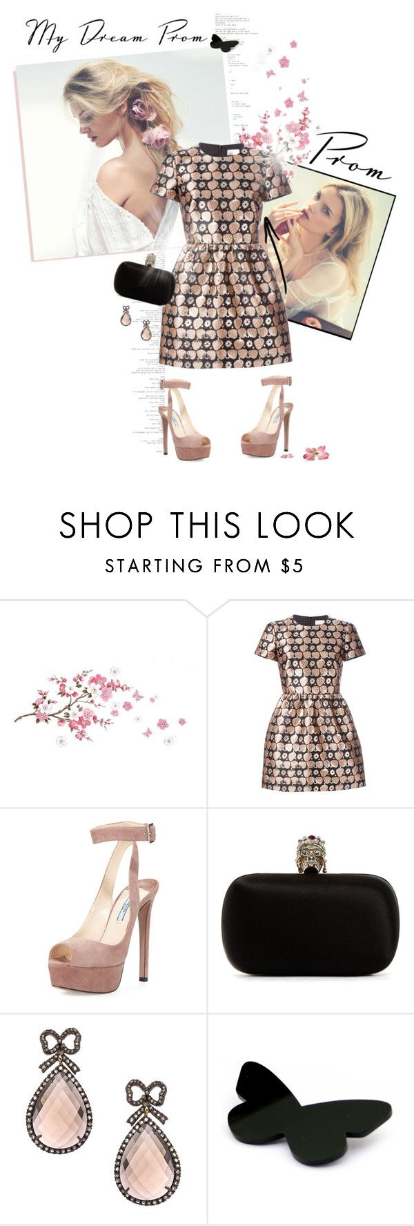 """My dream prom"" by neny-6 ❤ liked on Polyvore featuring RED Valentino, Prada, Alexander McQueen, Haridra and I Am Acrylic"