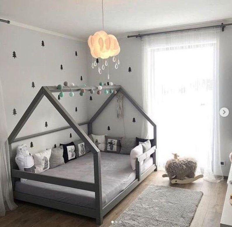 Montessori Bed Full Bed Plan Toddler Bed House Bed Frame DIY Wooden Floor Bed for Kids Bedroom